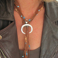 Western Wear Rustic Jewelry, Turquoise Leather Horn Necklace, Mexican Style, Statement Long Choker, Rodeo Birthday Party, Horse Riding Gift