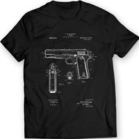 COLT 1911 PISTOL Patent T-Shirt Mens Gift Idea Weapon Tee
