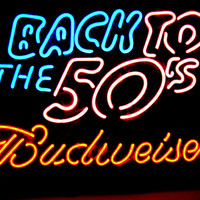 "Budweiser Beer Back to the 50's Real Glass Tube Beer Bar Neon Light Sign 16""x 10"" [High Quality]"