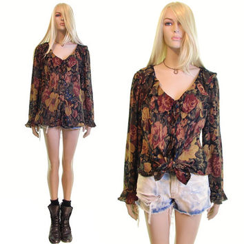 RALPH LAUREN silk blouse v plunge neck floral blouse ruffle drapy silk blouse womens clothing vintage blouse designer dress blouse 2xl plus