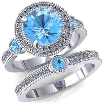 Brachium Round Aqua Blue Spinel Bezel Milgrain Halo 3/4 Eternity Accent Diamond Ring