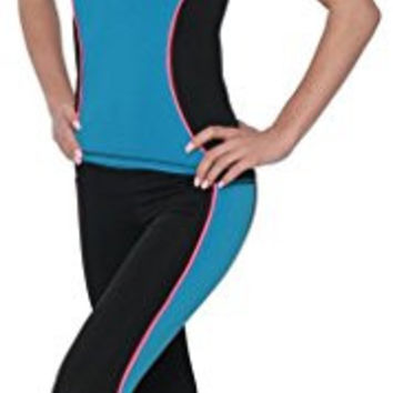 Designed For You Women's Neon Performance Active Black Capri Leggings Or Set