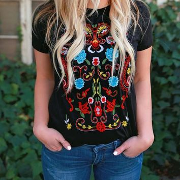 Blooming Crew Embroidered Tee