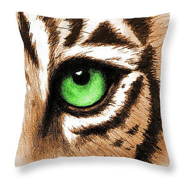 Tiger Pillow Tiger Decor Decorative Throw Pillows - Animal Pillow Cover Eye of the Tiger Green Throw Pillow - Animal Decor Accent Pillow