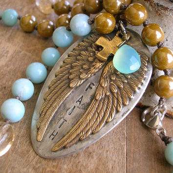 Angel wings knotted necklace - The Guardian / Faith - Bohemian jewelry luxe boho chic, pendant, cross religious, amazonite, aqua chalcedony