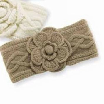 Mud Pie Cable Knit Flower Ear Warmer