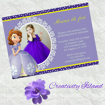 Sofia the first birthday invitation with picture! 4x6!