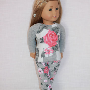18 inch doll clothes, floral graphic print shirt, grey floral print leggings, Upbeat Petites