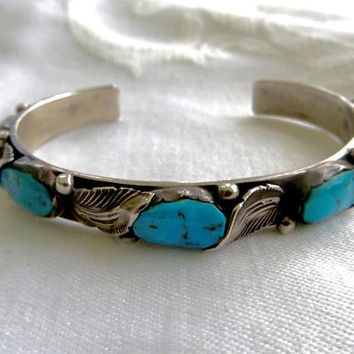 Zuni Sterling Cuff Bracelet Turquoise Nugget Stones Native Ame