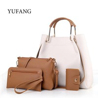 YUFANG 4pcs/set Women Handbag High Quality PU Leather Female Solid Tote Bag With Casual Messenger Bag Key Purse Composite Bags
