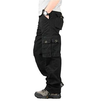 Spring Winter Cargo Pants Men Multi Pocket Straight Mens Military Trousers Casual Baggy