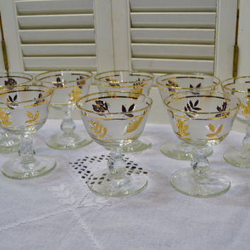 Vintage Libbey Gold Leaf Cocktail Glass Set of 7 White Gold Sherbet Dessert Stemware Glassware Panchosporch