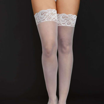 iCollection Lingerie Plus size Sheer Lace Top Thigh High