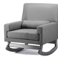 Grey Linen Contemporary Rocking Chair With Pillow