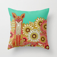 garden fox Throw Pillow by Sharon Turner | Society6
