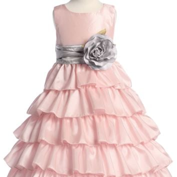 (Sale) Pink Taffeta Blossom Flower Girl Dress with 5 Tiers of Ruffles (Girls 12 months - Size 12 & Plus Sizes)
