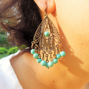Boho Earrings, Bohemian Tribal Chandelier Earrings, Statement Earrings, Tribal Earrings,Large Earrings,Handmade Jewelry, gypsy bohemian, her