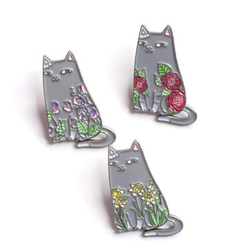Spike & Florals Enamel Pin Set