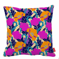 Purple Orange Sofa Pillows Flower Throw Pillow Artistic Accent Pillows Cushion Cover Decorative Pillow Covers Cute Pillows 18X18