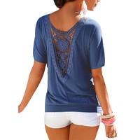 Summer Blouse  Fashion Women Loose Blouse Ladies Lace Top shirt Casual Summer Shirt  Sexy Tops Women clothes LJ3443M