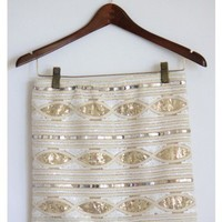 Gold and White Sequin Skirt