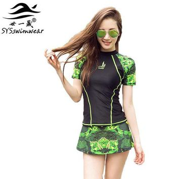 ONETOW High Quality Two Pieces Women Swimwear with Sleeves Surfing Cycling Swimming Zipper Vitality Girl Sport Clothes 4 Color Swimsuit