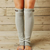 GRAY Chevron and Buttons Leg Warmers