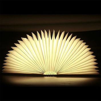 Creative USB Rechargeable Magnetic Wooden Folding LED Night Book Light 2500mAh Lithium Batteries Desk Table Lamp