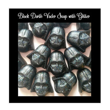 Darth Vader Soap Favors - Star Wars like black glitter Darth Vader Soap Favors for Birthday Party, Scented Kids Soaps, Pack of 25