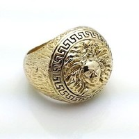 Size 9 Medusa Head Gold Tone Mens Ring Hip Ring