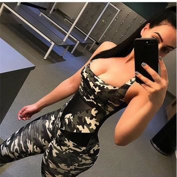 Camouflage Camo Print Backless Cross Back Shoulder-Strap High Waisted Boat Neck Sports Long Jumpsuit