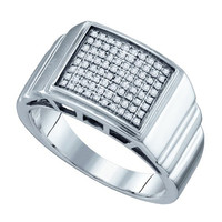Diamond Micro Pave Mens Ring in Sterling Silver 0.26 ctw