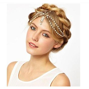 Celebrity Inspired Trendy White Pearl & Crystal Boho Hair and Wedding Head Jewelry