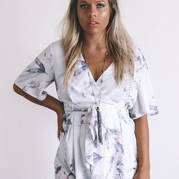 Love A Little Grey Floral Romper