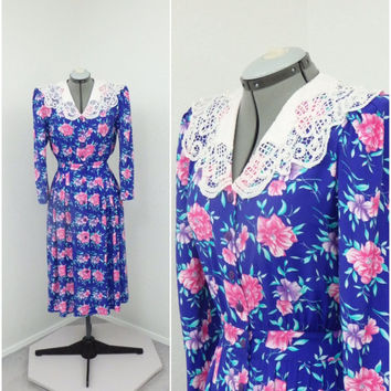 Vintage 80s Does 40s Karin Stevens Blue Purple Floral Midi Dress, Lace Collar Dress, Pleated Dress, Puff Sleeve Dress, Spring Dress
