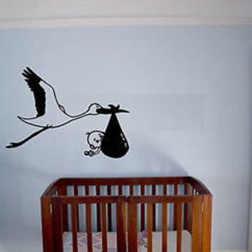Stork baby child love Wall Decor Vinyl Decal Sticker MURAL Interior Design AR316