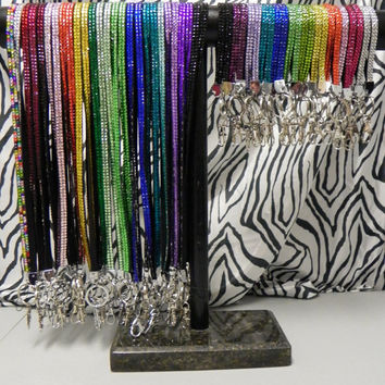 Rhinestone Bling Wristlet Lanyard with key ring by theblingdiva1