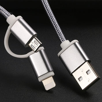 2 in 1 Nylon USB Data Charger Cable Aluminum Micro USB Charging Wire for iPhone 6 6s Plus 5 5S SE Samsung HTC Android Phone