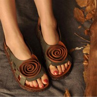 Women's Leather Hollow Sandals Flat with Handmade Flower