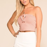 Anya Blush Striped Crop Top