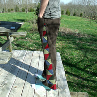 Patchwork Corduroy Pants Brown Blue Green Red Hippie Handmade Festival Heady  Kynd Valley Mens 32