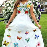 Floral design Ukrainian butterfly Prom Dress. Hand embroidered stunning flowers and butterflies! Wedding dress! All sizes. Made to order.