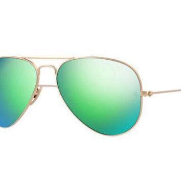 RAY BAN Aviator Large Green with Mirrored Sunglasses BUY IT NOW FOR $139.00