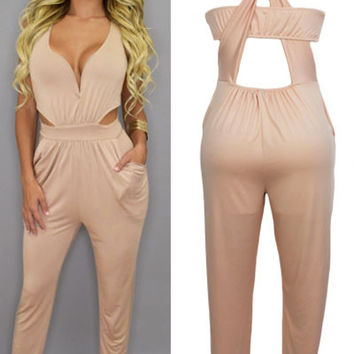 Nude V-Neck Strappy Cut-out  Jumpsuit