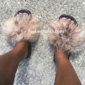 DCCKDW7 Just do it Nike Boa brown mix faux fur  slides