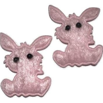 "Light pink felt Easter bunny 1 3/8"" padded appliqué w/ beaded eyes"