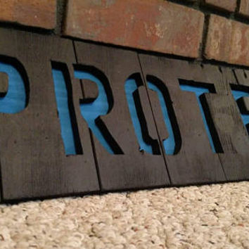 Thin Blue Line Sign - Thin Blue Line Protect Sign - Reclaimed Wood Thin Blue Line Sign - Wood Wall Art - Rustic Thin Blue Line Wall Art