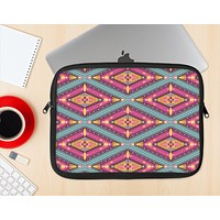 The Pink & Teal Abstract Mirrored Design Ink-Fuzed NeoPrene MacBook Laptop Sleeve
