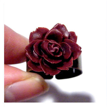Dark Red Rose Earrings Steampunk Goth Post Wine Maroon Gothic Flower