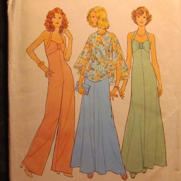 SALE Uncut 1970's Simplicity Sewing Pattern, 6939! Size 12/Women's/Misses/sml/medium/Sleeveless Halter Dress & Jumper/Jumpsuit/Poncho/Wide L